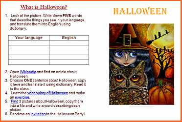 Englishville esl lesson plans and teaching materials ideal for modern computerized esl classrooms this easy digital halloween worksheet offers few fun activities including online translation short research stopboris Image collections